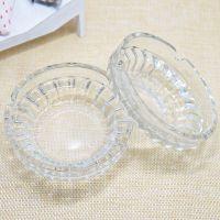 玻璃圆形烟灰缸 透明水晶葵花家用网吧ktv宾馆餐厅大号烟灰盒批发