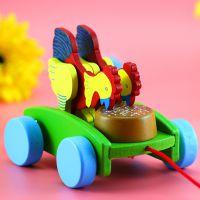 木制工艺品批发热卖 木质儿童益智车玩具 带线打鼓鸡吃米拉车