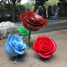 玻璃钢雕塑树叶花朵 旅游景点拍摄道具玻璃钢玫瑰花朵