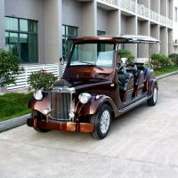 合肥厂家直销8座棕色四轮电动老爷车电动观光车电瓶车巡逻车