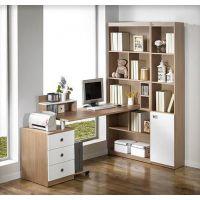 实木书桌书柜一体家用台式松木学习桌椅儿童转角电脑桌带书架组合