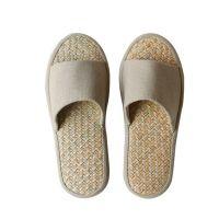 日式亚麻拖鞋女夏季室内办公室拖鞋静音凉拖鞋家居地板草拖鞋防臭
