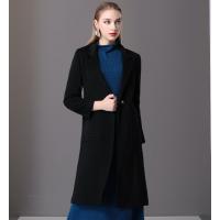 楚贝尔秋冬女士羊绒毛呢大衣修身时尚保暖中长款韩版黑色外套女