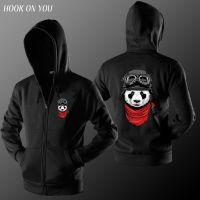 卡通动物图案飞行熊猫男士薄款连帽拉链长袖卫衣潮款