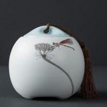 景德镇醒茶存茶罐家用小号中国风 手绘陶瓷器茶叶罐红茶绿茶密封罐