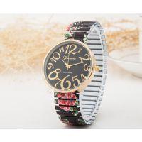 geneva日内瓦大数字刻度简约表盘弹簧带手表时尚热销钢带女士手表