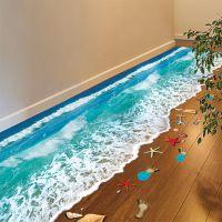墙贴.3D立体感墙贴纸沙滩海洋贴画浴室卫生间地板地贴客厅卧室防