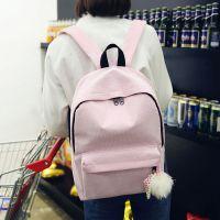 韩版条绒帆布双肩包可爱绒球挂件旅行背包学院风休闲百搭学生书包