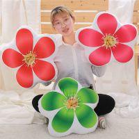 创意3D仿真植物树叶荷花抱枕靠垫坐垫毛绒玩具办公室午睡枕可拆洗