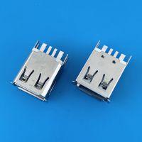 USB AF 2.0 4PIN大电流母座/加粗焊盘/带弹片/夹板式/梯形口