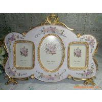 5吋三联框一件混批手绘情侣树脂组合相框相架母亲节结婚婚纱礼物