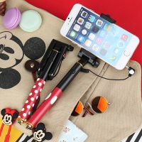 韩国正品迷你米奇可爱多功能便携便利自拍杆附挂绳手机通用伸缩杆