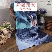 超细纤维浴巾 来图定制广告促销礼品超软浴巾沙滩巾 热转印花毛巾