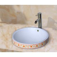 洗漱间台上半嵌入陶瓷彩花中式高品质洗手盆