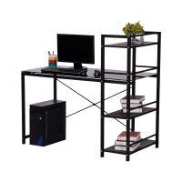 鼎新钢化玻璃电脑桌台式写字台带书架桌柜组合家用办公桌