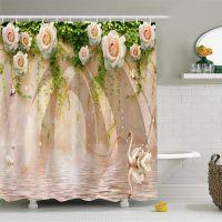 新款热销印花3D天鹅玫瑰浴帘 环保多功能 上万花型供选 来图定制