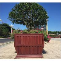 南京房地产销售中心装饰落地防腐木实木花箱道路组合花盆室外花槽花坛