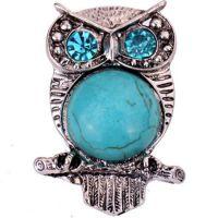 工厂直销 欧美爆款波西米亚 天然绿松石猫头鹰蓝水晶戒指