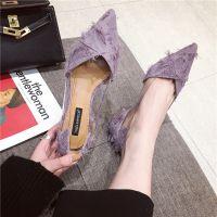 2018春夏新款时尚女鞋尖头紫色透明布面优雅百搭韩版中跟单鞋