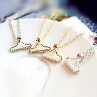 韩版小饰品 玫瑰金珍珠水钻项链 精致镶嵌小衣架项链锁骨链 混批