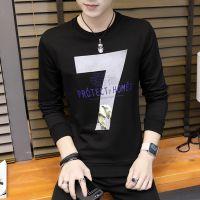 新款男士长袖t恤秋装卫衣2018韩版体恤潮流衣服印7图打底衫男上衣