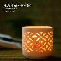 北欧白瓷婚庆家居装饰品蜡烛摆件几何图形镂空陶瓷烛台现代简约创意