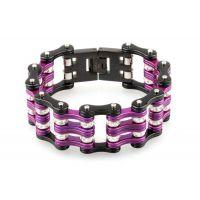 速卖通热销  欧美个性爆款时尚 不锈钢单车链手环 紫黑单车链手链