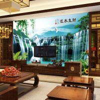 流水生财客厅沙发电视背景墙画壁纸墙纸大型壁画中式无缝墙布