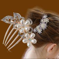 横夹头发戴盘头麻花辫中年妇女发卡箍公主风时尚新娘头饰小发梳