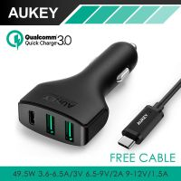 Aukey CC-Y3高通QC3.0 Type-C接口车载充电器新款3usb车充批发