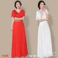 新款大摆裙大合唱演出服装女长裙中袖成人显瘦连衣裙长款礼服