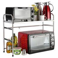 304不锈钢可伸缩厨房用品微波炉架烤箱架2层橱柜收纳置物架