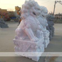 石雕狮子汉白玉中式传统石狮子一对大理石寺庙镇宅辟邪建筑雕塑摆件曲阳万洋雕刻厂家定做