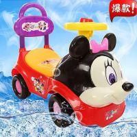 新款带音乐灯光卡通米奇儿童滑行车 宝宝学步助步四轮溜溜车