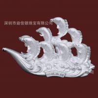 一帆风顺 鱼跃龙门 锦鲤鱼纯银摆件 足银工艺品 双11礼品 CY189