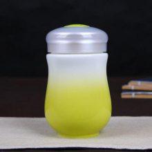 陶瓷黄釉渐变单层色釉保温杯 定制七夕礼物 可爱迷你杯实用礼品