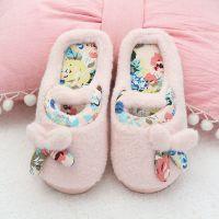 秋冬天可爱女童儿童蝴蝶结保暖家居棉拖鞋防滑半包孕妇月子鞋女生