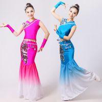 新款傣族舞蹈服演出服亮片孔雀舞蹈服装女傣族裙子包臀长款鱼尾裙