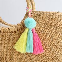 欧美流行手工制作彩色流苏钥匙扣 小毛球包包挂件饰品 厂家直销