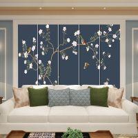 新中式电视背景墙硬包春意盎然花鸟床头沙发酒店房间卧室软包壁画