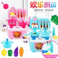 4496儿童卡通小厨房女孩做饭过家家玩具 宝宝迷你厨具餐具套装