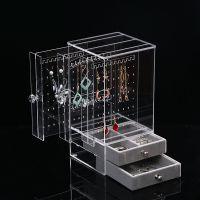 大容量耳饰饰品收纳盒耳环展示架透明亚克力小耳钉首饰收藏防尘盒