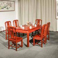 实木古典中式红木餐桌-花梨木家具-缅甸花梨国色天香7件套组合餐桌-红木家具厂直销