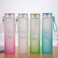 马卡龙渐变色七彩直身磨砂玻璃杯情侣水杯耐热玻璃广告礼品随手杯
