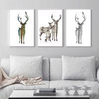简约北欧风动物帆布画麋鹿DIY油画创意挂画客厅装饰画支持定制