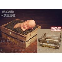 道具批发 欧美风格宝宝筐儿童拍照新款韩式满月百天婴儿木质框