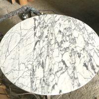 石材台面加工厂圆形方形过聚酯树脂面直供家私厂爵士白大理石台面