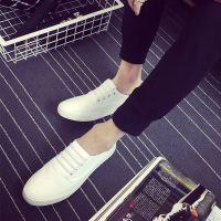 男生休闲鞋假系带懒人帆布鞋男白色小白鞋单鞋2017秋季男鞋