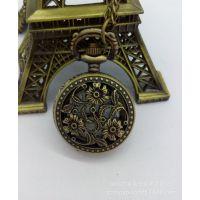 外贸热卖 复古镂空花标记怀表 古铜色项链表