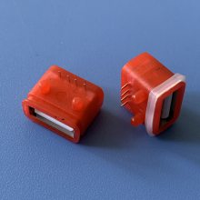 A母卧式防水插座 短体10.0 USB-4P插板防水母座 AF-4P/90度插件防水IP67防水等级